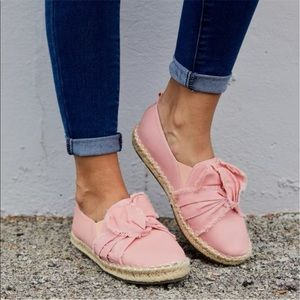 Blush pink slip on sneaker espadrille